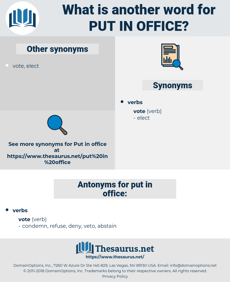 put in office, synonym put in office, another word for put in office, words like put in office, thesaurus put in office