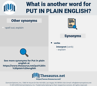 put in plain English, synonym put in plain English, another word for put in plain English, words like put in plain English, thesaurus put in plain English