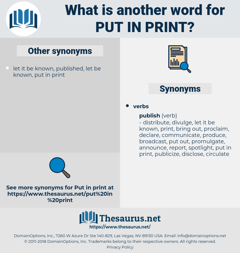 put in print, synonym put in print, another word for put in print, words like put in print, thesaurus put in print