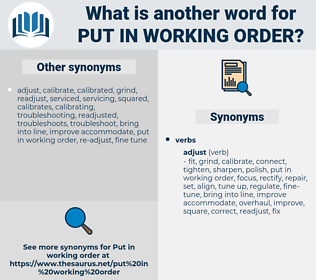 put in working order, synonym put in working order, another word for put in working order, words like put in working order, thesaurus put in working order