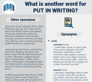 put in writing, synonym put in writing, another word for put in writing, words like put in writing, thesaurus put in writing