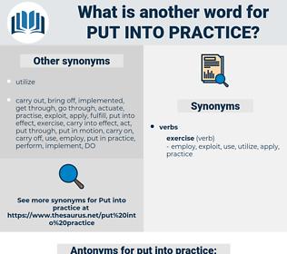 put into practice, synonym put into practice, another word for put into practice, words like put into practice, thesaurus put into practice