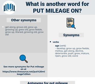 put mileage on, synonym put mileage on, another word for put mileage on, words like put mileage on, thesaurus put mileage on