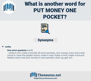 put money one pocket, synonym put money one pocket, another word for put money one pocket, words like put money one pocket, thesaurus put money one pocket