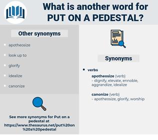 put on a pedestal, synonym put on a pedestal, another word for put on a pedestal, words like put on a pedestal, thesaurus put on a pedestal