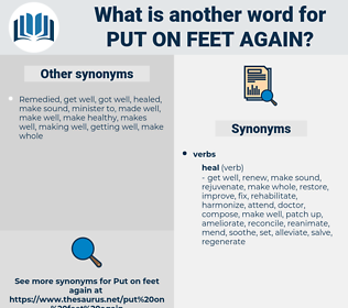 put on feet again, synonym put on feet again, another word for put on feet again, words like put on feet again, thesaurus put on feet again