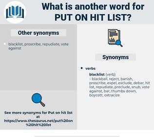 put on hit list, synonym put on hit list, another word for put on hit list, words like put on hit list, thesaurus put on hit list
