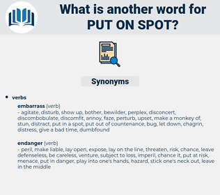 put on spot, synonym put on spot, another word for put on spot, words like put on spot, thesaurus put on spot