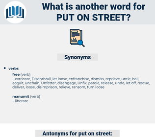 put on street, synonym put on street, another word for put on street, words like put on street, thesaurus put on street