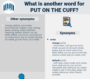 put on the cuff, synonym put on the cuff, another word for put on the cuff, words like put on the cuff, thesaurus put on the cuff