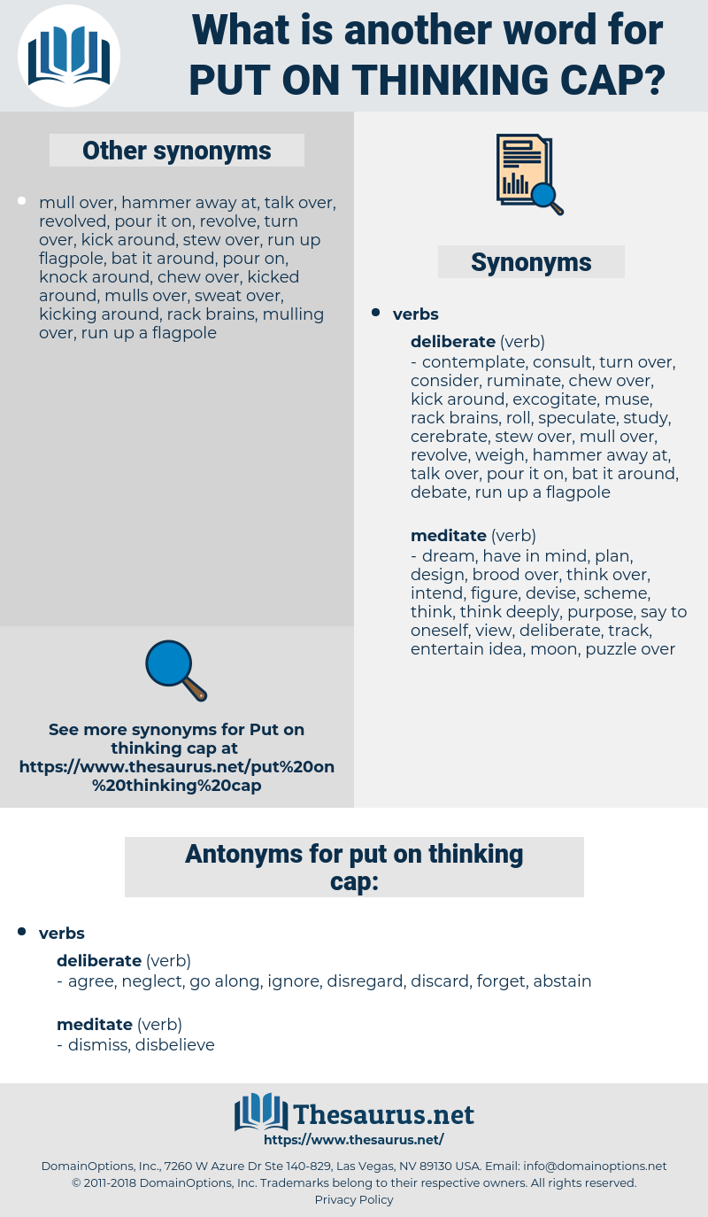 put on thinking cap, synonym put on thinking cap, another word for put on thinking cap, words like put on thinking cap, thesaurus put on thinking cap
