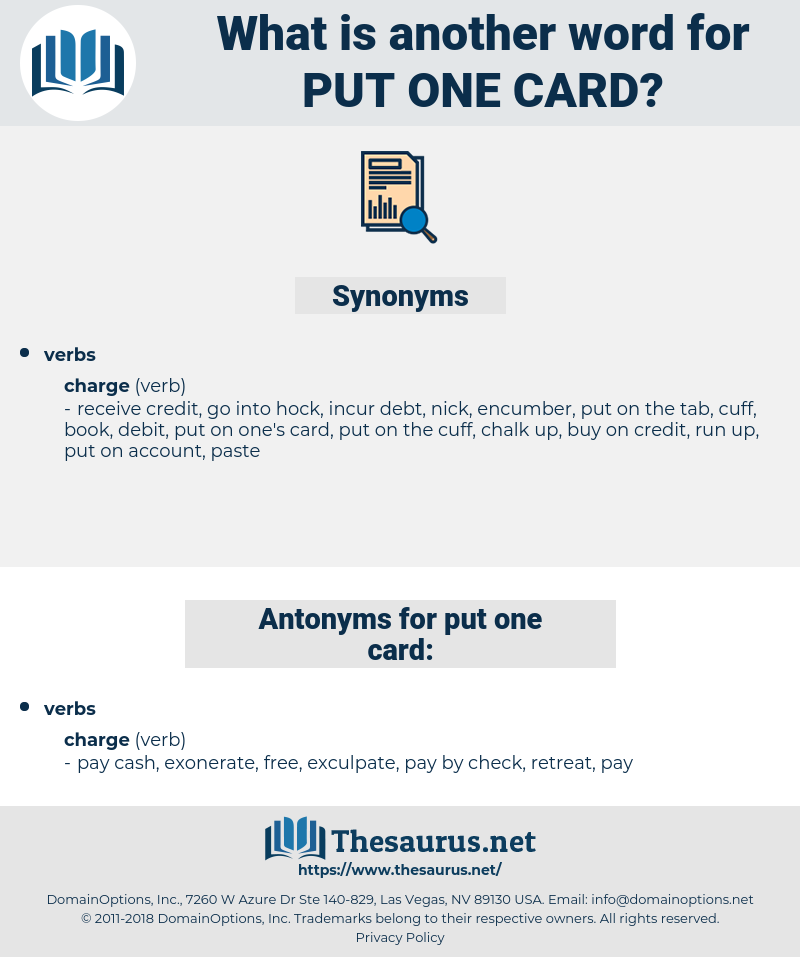 put one card, synonym put one card, another word for put one card, words like put one card, thesaurus put one card