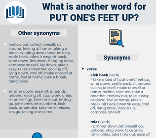 put one's feet up, synonym put one's feet up, another word for put one's feet up, words like put one's feet up, thesaurus put one's feet up