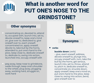 put one's nose to the grindstone, synonym put one's nose to the grindstone, another word for put one's nose to the grindstone, words like put one's nose to the grindstone, thesaurus put one's nose to the grindstone