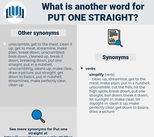 put one straight, synonym put one straight, another word for put one straight, words like put one straight, thesaurus put one straight