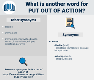 put out of action, synonym put out of action, another word for put out of action, words like put out of action, thesaurus put out of action