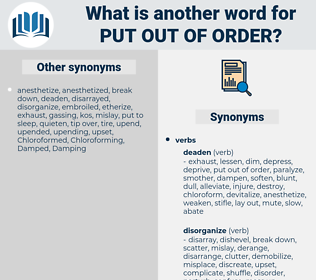 put out of order, synonym put out of order, another word for put out of order, words like put out of order, thesaurus put out of order