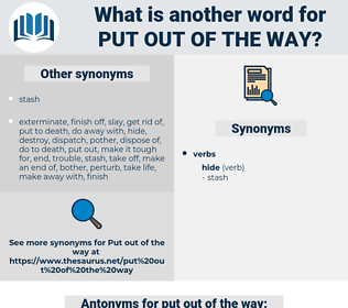 put out of the way, synonym put out of the way, another word for put out of the way, words like put out of the way, thesaurus put out of the way