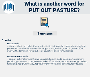 put out pasture, synonym put out pasture, another word for put out pasture, words like put out pasture, thesaurus put out pasture