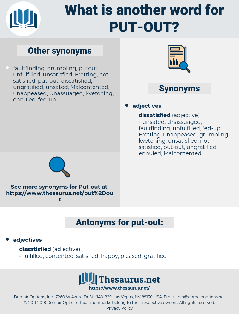 Synonyms for PUT OUT, Antonyms for PUT OUT - Thesaurus net