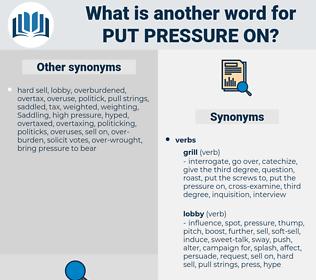 put pressure on, synonym put pressure on, another word for put pressure on, words like put pressure on, thesaurus put pressure on