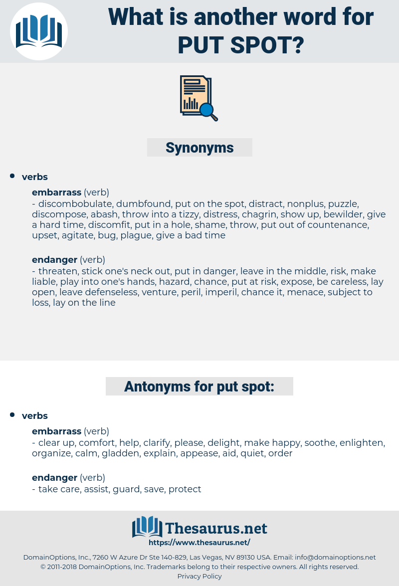 put spot, synonym put spot, another word for put spot, words like put spot, thesaurus put spot