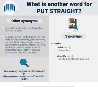 put straight, synonym put straight, another word for put straight, words like put straight, thesaurus put straight