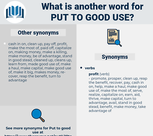 put to good use, synonym put to good use, another word for put to good use, words like put to good use, thesaurus put to good use