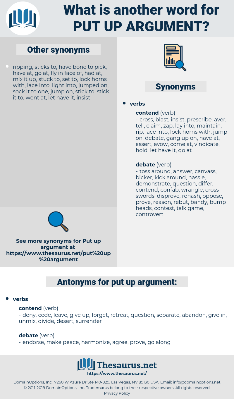 put up argument, synonym put up argument, another word for put up argument, words like put up argument, thesaurus put up argument