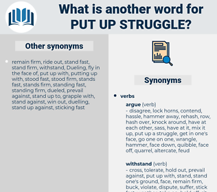 put up struggle, synonym put up struggle, another word for put up struggle, words like put up struggle, thesaurus put up struggle