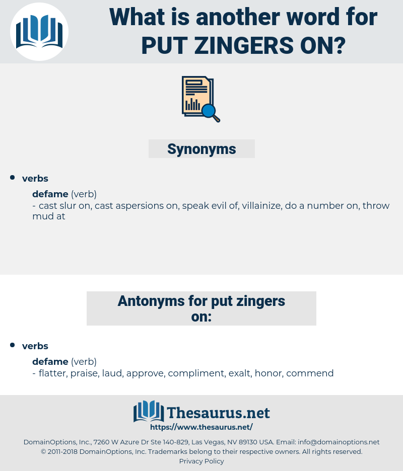 put zingers on, synonym put zingers on, another word for put zingers on, words like put zingers on, thesaurus put zingers on