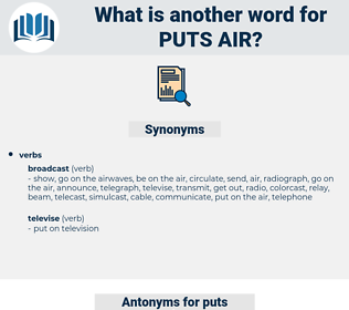 puts air, synonym puts air, another word for puts air, words like puts air, thesaurus puts air