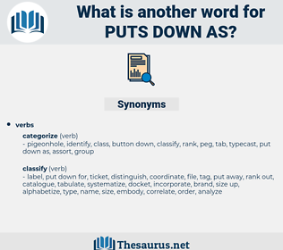 puts down as, synonym puts down as, another word for puts down as, words like puts down as, thesaurus puts down as