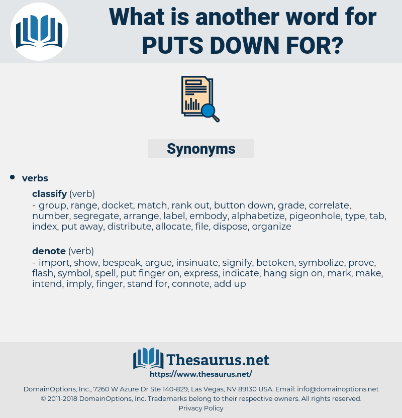 puts down for, synonym puts down for, another word for puts down for, words like puts down for, thesaurus puts down for