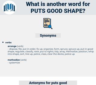 puts good shape, synonym puts good shape, another word for puts good shape, words like puts good shape, thesaurus puts good shape