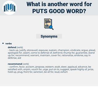 puts good word, synonym puts good word, another word for puts good word, words like puts good word, thesaurus puts good word