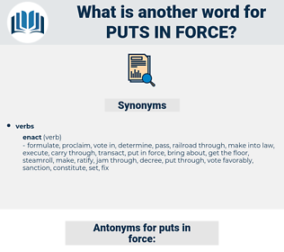 puts in force, synonym puts in force, another word for puts in force, words like puts in force, thesaurus puts in force