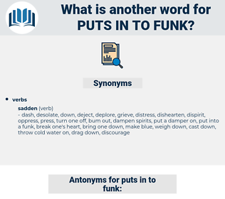puts in to funk, synonym puts in to funk, another word for puts in to funk, words like puts in to funk, thesaurus puts in to funk