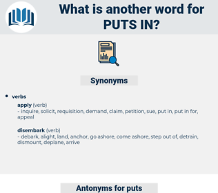 puts in, synonym puts in, another word for puts in, words like puts in, thesaurus puts in