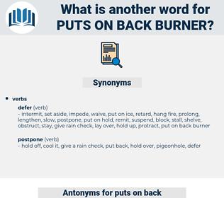 puts on back burner, synonym puts on back burner, another word for puts on back burner, words like puts on back burner, thesaurus puts on back burner