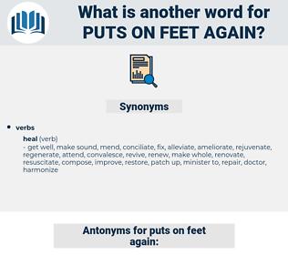 puts on feet again, synonym puts on feet again, another word for puts on feet again, words like puts on feet again, thesaurus puts on feet again