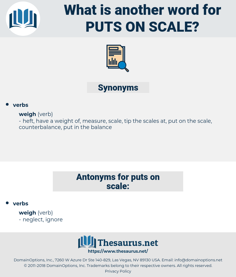 puts on scale, synonym puts on scale, another word for puts on scale, words like puts on scale, thesaurus puts on scale