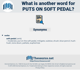 puts on soft pedal, synonym puts on soft pedal, another word for puts on soft pedal, words like puts on soft pedal, thesaurus puts on soft pedal