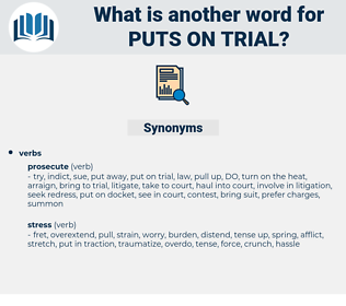 puts on trial, synonym puts on trial, another word for puts on trial, words like puts on trial, thesaurus puts on trial