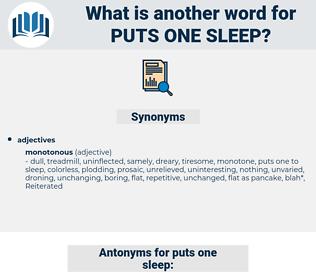 puts one sleep, synonym puts one sleep, another word for puts one sleep, words like puts one sleep, thesaurus puts one sleep