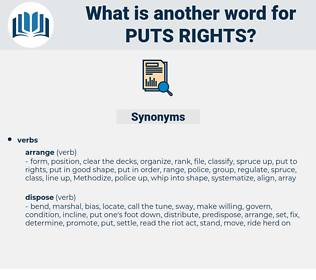 puts rights, synonym puts rights, another word for puts rights, words like puts rights, thesaurus puts rights