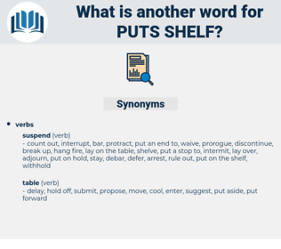 puts shelf, synonym puts shelf, another word for puts shelf, words like puts shelf, thesaurus puts shelf
