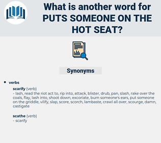 puts someone on the hot seat, synonym puts someone on the hot seat, another word for puts someone on the hot seat, words like puts someone on the hot seat, thesaurus puts someone on the hot seat