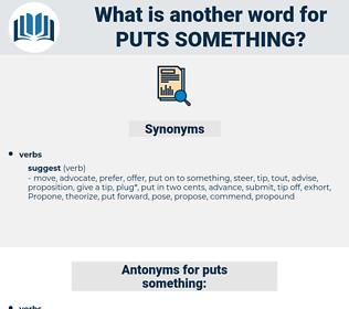 puts something, synonym puts something, another word for puts something, words like puts something, thesaurus puts something