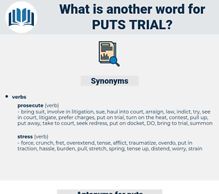 puts trial, synonym puts trial, another word for puts trial, words like puts trial, thesaurus puts trial